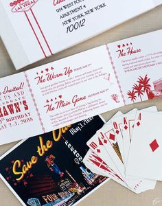 Vegas party inspiration invitation. NICE IDEA TO PUT TIMES OF EVENTS.