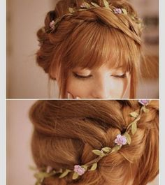 Cute braided up do with bangs and a flower halo ♡