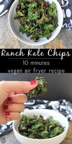 Ranch kale chips cook up crispy and perfect in the air fryer in under 10 minutes, including the time needed to make delicious from-scratch ranch seasoning.