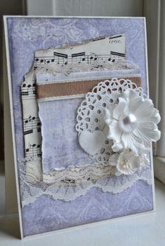 Kort - card - flower, cherry Lynn doily -