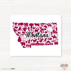 This is a fun Montana print using Maroon and Gray colors! This is a great gift for any collegiate student or fan!    Please Note: This print is not