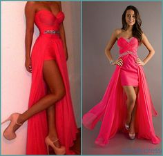 Vestidos 2014  Most Popular Prom Dresses Sexy Sweetheart  Rhinestones High Slit Floor Length Chiffon Red Coral Evening Dresses $129.00