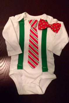 Baby's first Christmas!! Littleman Christmas Suspenders and your choice of Tie or Bow tie  on Etsy, $18.00