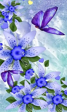 By Artist Unknown. Blue Butterfly Wallpaper, Pineapple Wallpaper, Flower Phone Wallpaper, Colorful Wallpaper, Cellphone Wallpaper, Wallpaper Backgrounds, Iphone Wallpaper, Beautiful Flowers Wallpapers, Beautiful Nature Wallpaper