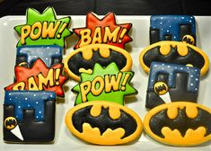 """batman and robin cake   , and we made them """"Batman"""" by re-naming all of the food using Batman ..."""