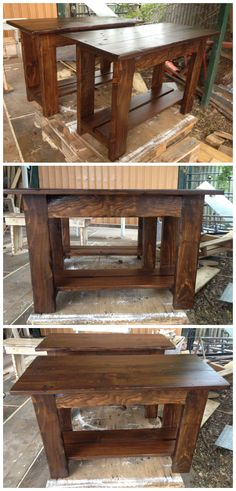 Bench seat with storage shelf #Bench, #Pallet, #Recycled