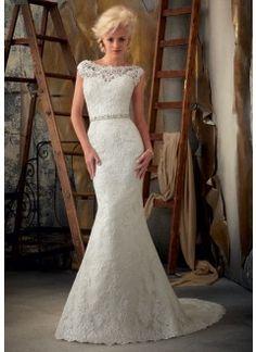 Venice Lace Appliques on Net Wedding Dress