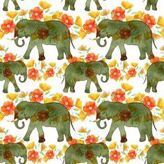 Watercolor elephants on parade fabric by vo_aka_virginiao on Spoonflower - custom fabric