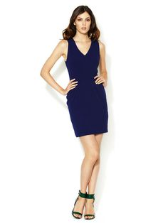 DESIGNER DRESSES - V-Neck Panel Crepe Sheath (Alex + Alex)