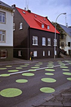 reykjavík -- Iceland      / islandia          !! have YOU ever seen Green Polka Dotted streets before? ... Me neither !