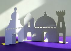 recycled cereal box cardboard scenery - love this! haunted mansion for halloween??