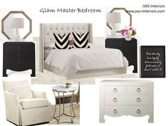 "JWS Interiors LLC ""Affordable Luxury"": Glam Master Bedroom Design Board"