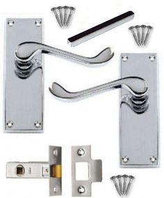 Victorian chrome #scroll door handle sets #lever #latch lock bathroom privacy n/h,  View more on the LINK: 	http://www.zeppy.io/product/gb/2/331637652452/