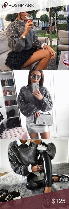 "Pearl Studded Jumper Sweater New! Chunky and classy - this sweater is SO gorgeous! As seen on many celebrities this season!  Size: Small  • USE THE ""BUY NOW"" OR ""ADD TO BUNDLE"" BUTTON TO PURCHASE • Sweaters Crew & Scoop Necks"