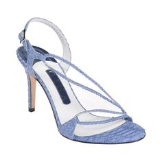 An elegant naked sling back sandal in bright blue exotic python leather presented on an 85mm stiletto heel.