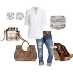 My white shirt, my capris and brown leather, Need studs