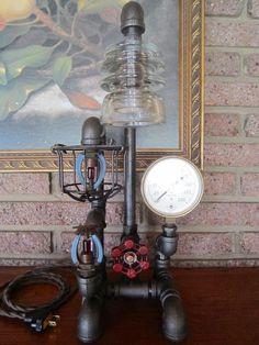 Vintage Steampunk Industrial Lamp, Grinnell Sprinkler Gauge and Sprinkler Heads
