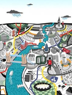 Colourful illustration of London from above