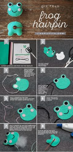 DIY and Crafts: Felt Frog DIY Hair Clip - Lia Griffith