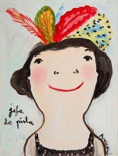 Nació en Zaragoza el 1 de septiembre de 1969. Es pintora y grabadora. Estudió Bellas Artes en Barcelona. Tras unos primeros añ... Eva Armisen, Face Art, Art Faces, Naive, Feather Hat, Art Et Illustration, Doll Face, Thing 1, Book Worms