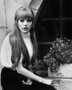 Marianne Faithfull on the set of The Girl On A Motorcycle, 1967.