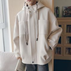 Details about mens loose korean fashion jacket wool blend outwear hooded parka casual coat new Streetwear Jackets, Korean Fashion Men, Shirt Jacket, Jacket Men, Windbreaker Jacket, Jacket Style, Casual Tops, Aesthetic Clothes, Street Wear