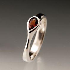 Tear Drop Garnet Engagement Ring in Silver by NodeformWeddings, $175.00