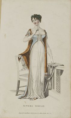 Old Rags - July opera dress, 1811 England, La Belle Assemblée Jane Austen, Regency Dress, Regency Era, Historical Costume, Historical Clothing, 1800s Clothing, Empire Clothing, 1800s Fashion, Vintage Fashion