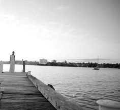 Black and White wedding photos, on the water...