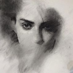 Unfinished work by Casey Baugh. Charcoal on Paper.