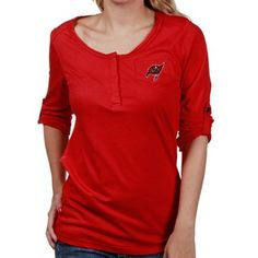 Tampa Bay Buccaneers Ladies Red Sideline Henley Convertible Long Sleeve T- shirt Fan Store 4a66141f9