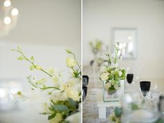 Contemporary centerpieces | Photo by Christine Meintjes #green #white #centerpiece #wedding