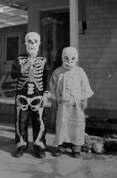 Vintage Halloween Costumes - Skeleton, Casper the ghost