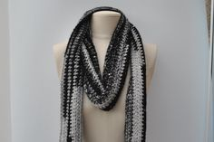 Ladies crocheted scarf black/grey with sequins by DaisyElizaDesigns on Etsy