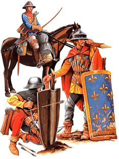 Battle of Agincourt, 25 October 1415: Mounted archer and Crossbowmen