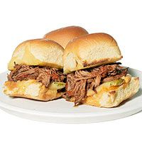 Make it a slow cooker summer with these tasty Barbecue Brisket Sliders! | http://www.rachaelraymag.com/recipe/barbecue-brisket-sliders/