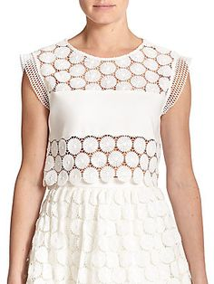 Alexis Stellan Floral-Embroidered Cropped Top