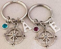 Two Best Friend Compass Keychains | Best Friend Gift | Birthstone Monogram Keychain | Custom Alphabet Charm | Gift for Best Friend | Keyring