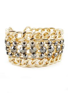 Silver Bead Gold Chain Bracelet <3
