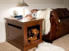 Indoor Doghouse Not all dog houses are designed for the outdoors. This ingenious dog crate blends in with your home's decor and provides a cozy shelter for your dog. Comes in four sizes.~~I wonder if you could refurbish an old end table or nightstand and have the same effect.