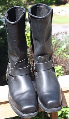 MENS X ELEMENT SQUARE TOE HARNESS MOTORCYCLE LEATHER BLACK BOOTS SIZE 9.5 W…