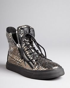 Giuseppe Zanotti Sneakers - Metallic Lace Up | Bloomingdale's