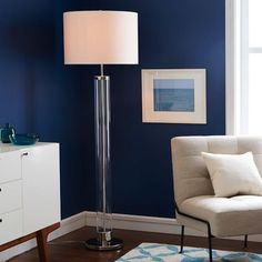 Acrylic Column Floor Lamp - Polished Nickel | west elm
