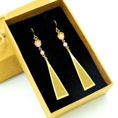 14K Vintage Bar Dangle/Rose Quartz Beaded Dangle Earrings/14K Gold Filled/Dangle Earrings