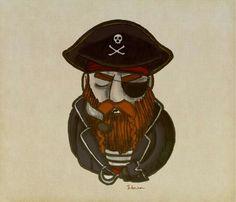 Ilustração mostrando um pirata, ex corsário. Para a arte tive referências do famoso barba ruiva e, também, capitão gancho. Desenho feito a mão e pintado digitalmente. #silveira03