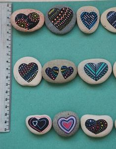 Painted Stones - Heart hand painted rocks, colorful painted hearts on sea pebble, meditation stone, unique handmade gift, art, painted pebble, decorative stones, pebble stone art, rock art, painted sea stone, office gifts, original home decor, meditation stones. I propose a sea