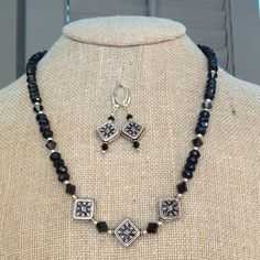 Black Onyx & Bali Sterling Silver Necklace Black Onyx beads accented with Jet Swarovski Crystals & a Bali Sterling Silver Black Onyx Locking Clasp! Necklace & Earrings - $170 Jewelry Necklaces