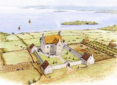 Paint the Past specialises in Archaeological and Historical Reconstruction and Illustration. The artist Philip Armstrong is based in Larne, Northern Ireland Fantasy Castle, Fantasy Map, Medieval Fantasy, Castle House Plans, Castle Painting, Fortification, Medieval Castle, Fantasy Landscape, Ancient Architecture