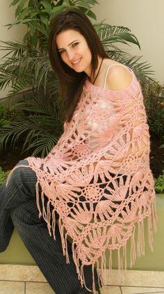 Mis trabajos para Damas - Tejiendo Perú... Crochet Blouse, Crochet Scarves, Crochet Shawl, Free Crochet, Crochet Top, Scarf Knit, Hairpin Lace Crochet, Crochet Mandala, Russian Crochet