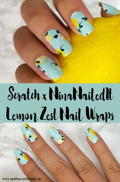 "Manicure Monday - Scratch X Ninanailedit ""lemon Zest"" Nail Wraps! Cute Summer Nail Designs, Blue Nail Designs, Art Designs, Bright Summer Nails, Cute Summer Nails, Lemon Nails, Manicure Y Pedicure, French Tip Nails, Nail Wraps"